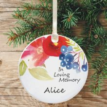 In Loving Memory Personalised Remembrance Christmas Tree Decoration - Watercolour Floral Design